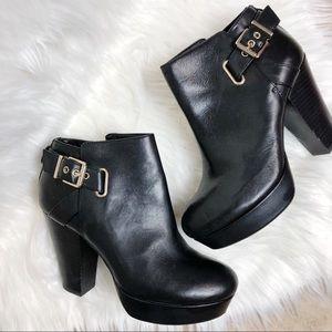 Gianni Bini leather platform buckle booties